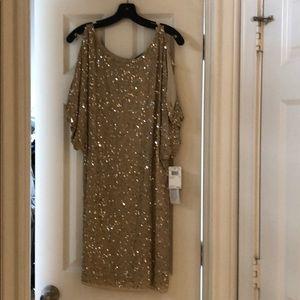 Aidan Mattox sequin t-Shirt Split Sleeve Dress